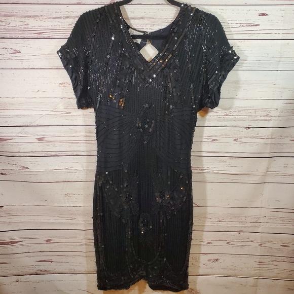 Stenay Dresses & Skirts - Vintage Sequin Beaded Dress Open Back Sz 4 Black